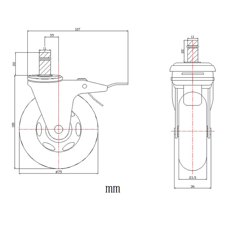5-pack stolshjul för hårda golv ROLOS XL 11 mm / 75 mm