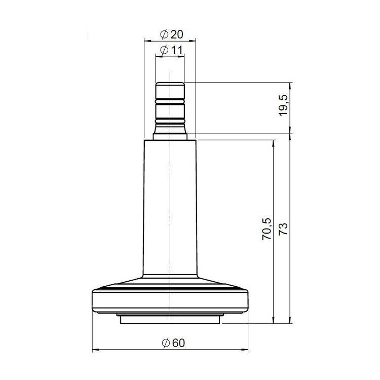 5-pack fötter STAND till kontorsstol 11 mm / 60 mm