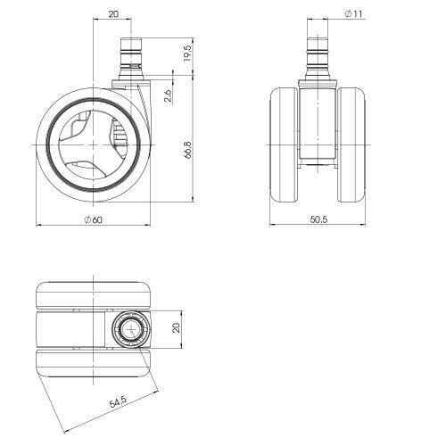5-pack hjul för hårda golv ROLOS RACE 11 mm / 60 mm