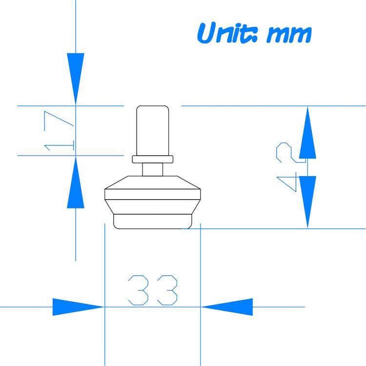5-pack kromade fötter till skrivbordsstol STANDER 11 mm / 42 mm