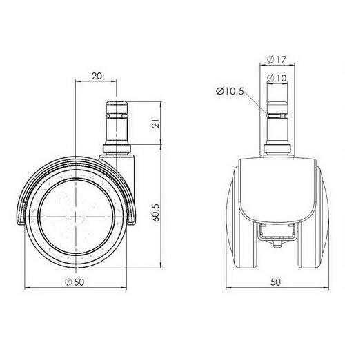 5-pack - stolshjul för hårda golv ROLOS FIX 10 mm / 50 mm