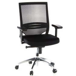 Skrivbordsstol, Porto Pro - Svart meshrygg & aluminium