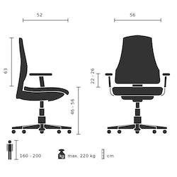 Skrivbordsstol, Instructor XXL - Maxvikt 220 kg