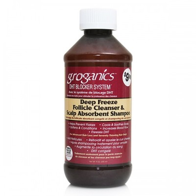 Groganics deep freeze follicle cleanser & scalp absorbent shampoo 237ml
