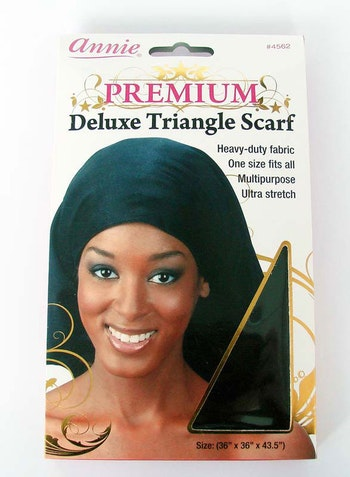 PREMIUM DELUXE TRIANGLE SILK HAIR SCARF  (BLACK)