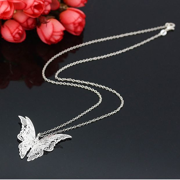 Fjäril, silverpläterat halsband