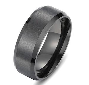 Titaniumring, slät, svart