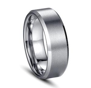 Titaniumring, silver, slät herrmodell