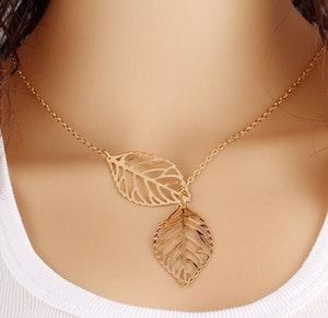 Halsband - Två löv, guldfärgad
