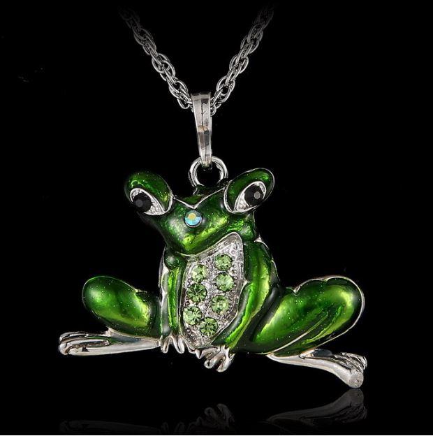 Grön groda halsband