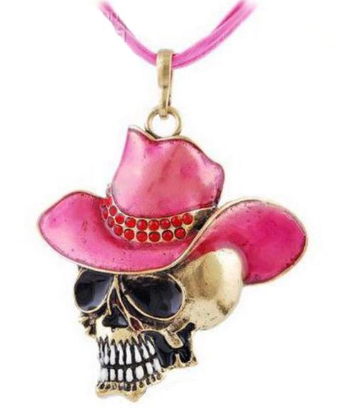 Döskalle med rosa cowboyhatt halsband