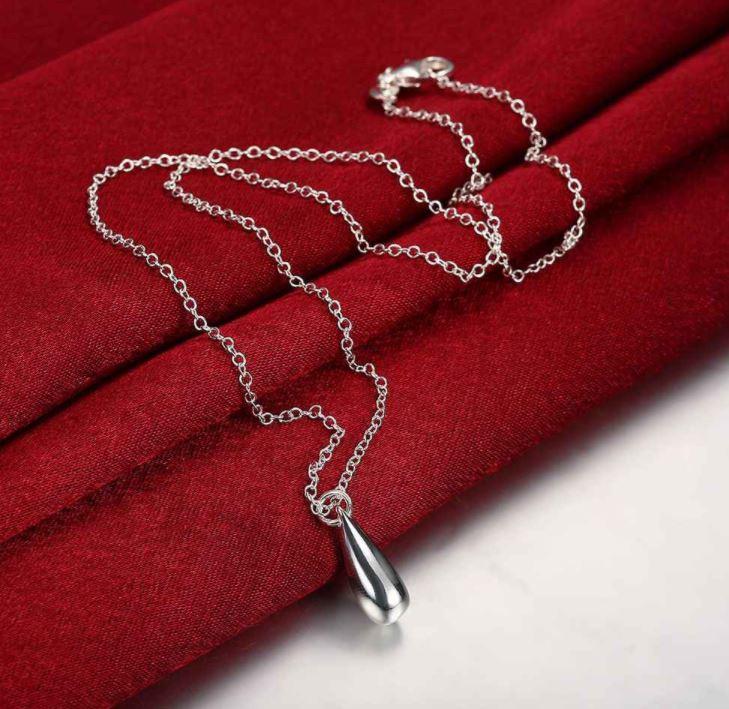 Vattendroppe - Halsband 925 silver pläterad
