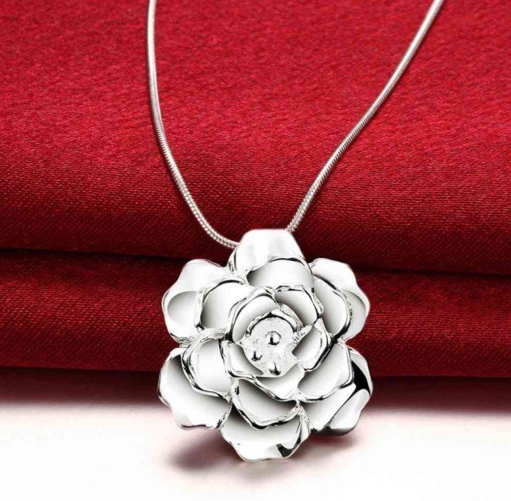 Ros - Halsband 925 silver pläterad