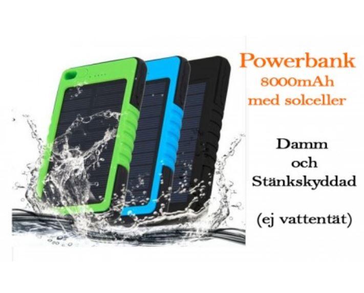 Powerbank 8000 mAh. Solceller och inbyggd ficklampa
