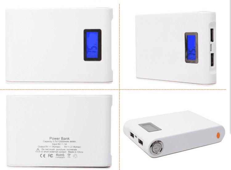 Powerbank 12000 mAh. Inbyggd ficklampa. Digital display