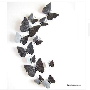 3D-Fjärilar, svartmönstrade