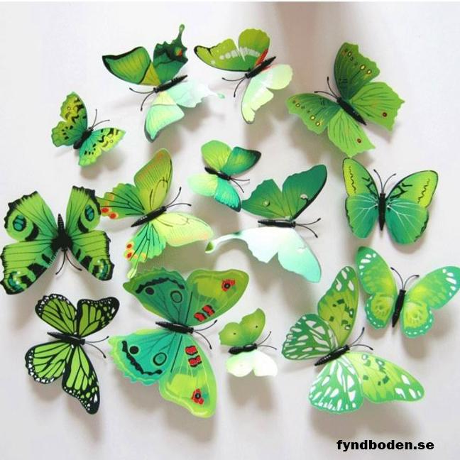 3D-Fjärilar, grönmönstrade