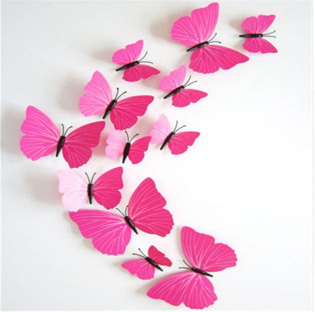 3D-Fjärilar, rosa mönstrade