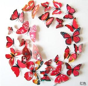 3D-Fjärilar, röd-mix