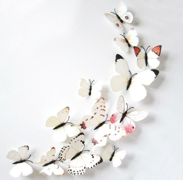 3D-Fjärilar, vit-mix