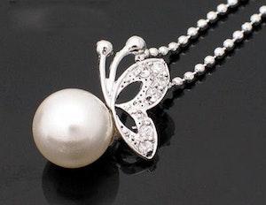 Fjäril med pärla - Halsband