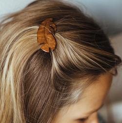 LEAF HAIR BARETTE CLIP - BROWN