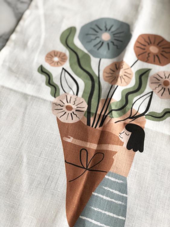 Garden girl kitchen towel