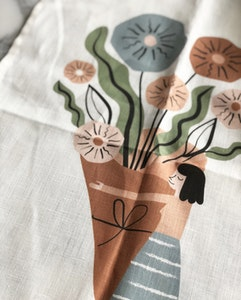 Garden girl kitchen towel