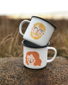 You & me enamel mugs