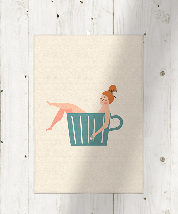 Cup of coffee kitchen towel