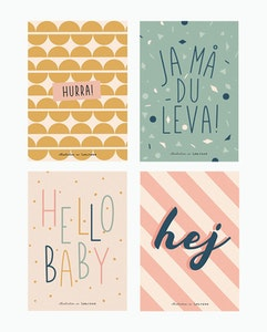 Hej set of 4 cards