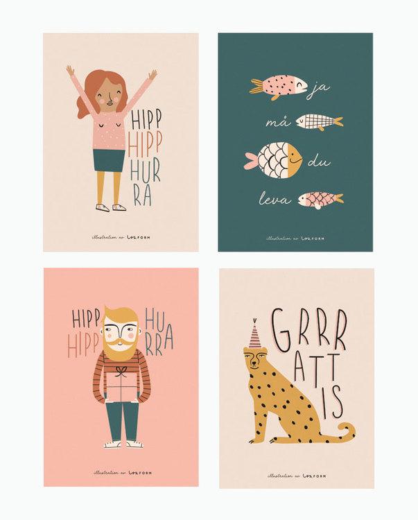 Hurra set of 4 cards