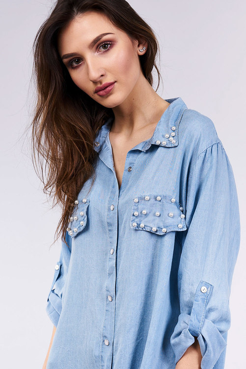 1029e3df7a0e Blå långs kjorta med pärlor - Italia Moda - UnikStyle