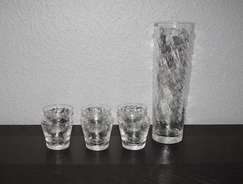 Karaff med 6 glas från Ekenäs Glasbruk