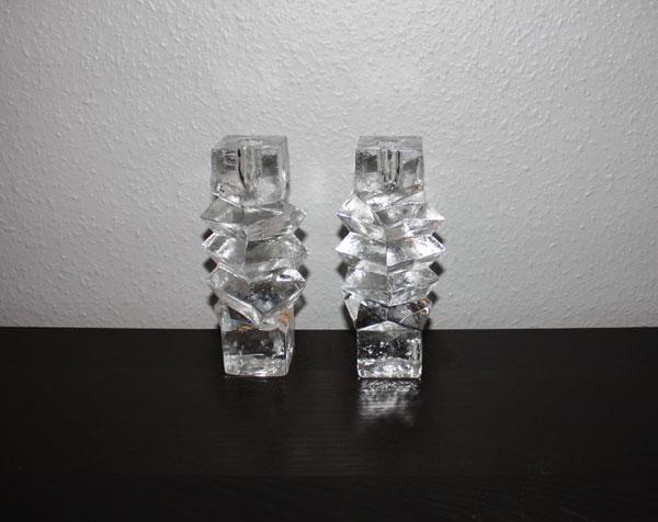 1 par ljusstakar i tungt glas