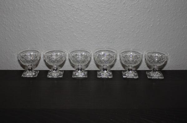 6st likörglas i kristall - Kosta- Elis Bergh - Ekeberga fiskfjäll