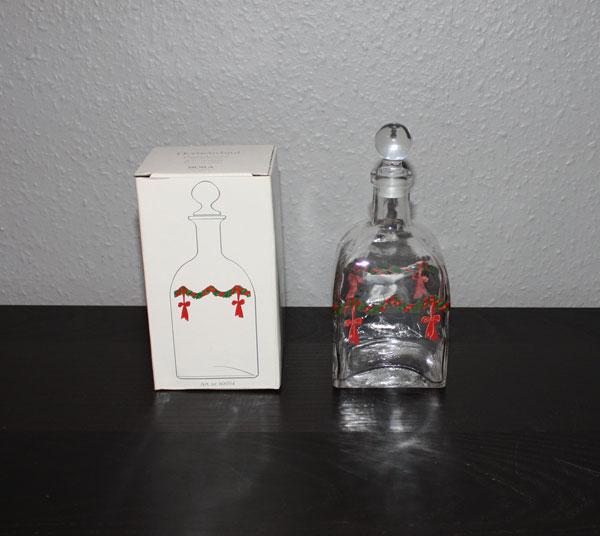 Glaskaraff med julmotiv och glaskork från Nora Sweden