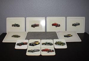 6 st glas och cocktailunderlagg från Cotswood - Vintage Cars
