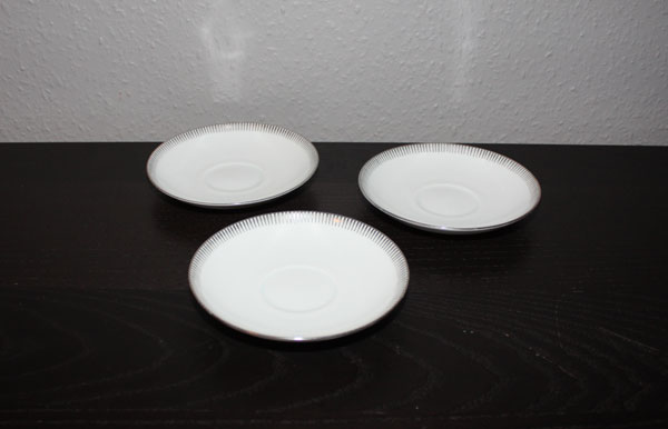 3st kaffefat, Bing & Gröndahl silverdekor