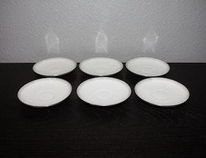 6st kaffefat, Bing & Gröndahl silverdekor