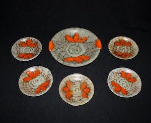 Fruktfat med 5 assietter från Strehla Keramik