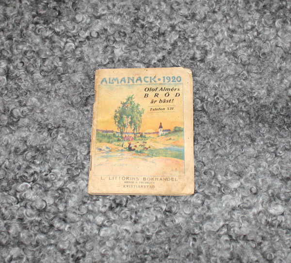 Almanack 1920 L.Littorins Bokhandel Kristianstad