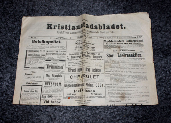 Uppslag från Kristianstadsbladet 5 april 1924