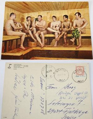 Vykort från Finland - bastubadande nakna män - 1973