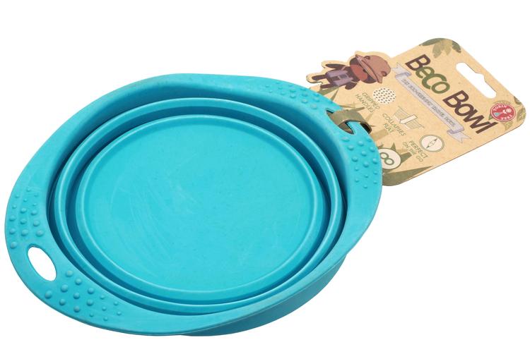 Beco matskål hopfällbar, blå
