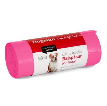 Dogman bajspåse knythandtag 60-pack, rosa
