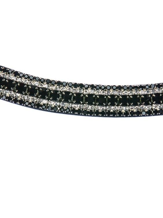 Pannband med svarta och vita kristaller