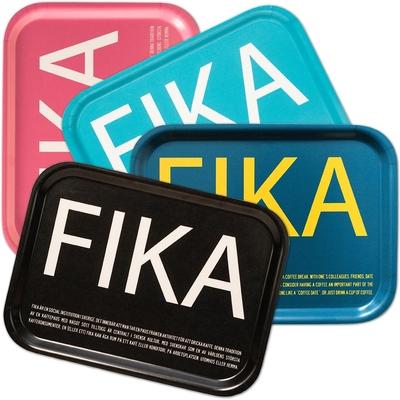 FIKA bricka svensk text rosa
