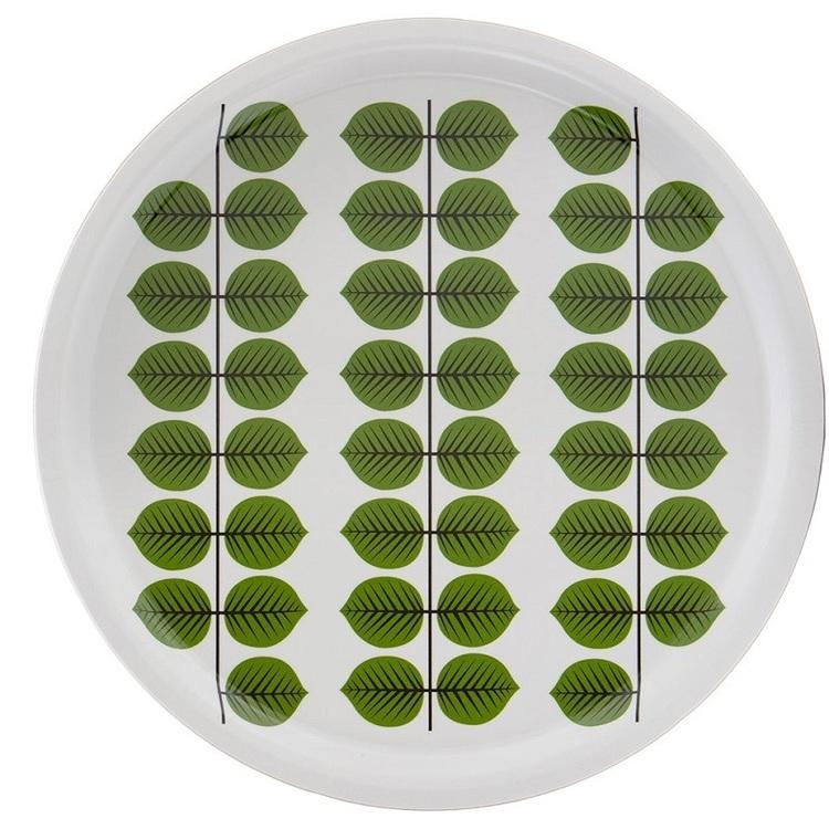 Stig Lindberg Berså rund bricka 46 cm grön