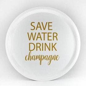 Mellow Design rund bricka Champagne vit/guld